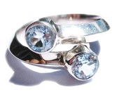 Solid Gold Ring 14k White Gold Blue Topaz Engagement Rings