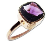 Gold Amethyst Ring Purple Gemstone 14k Engagement Rings and Jewelry