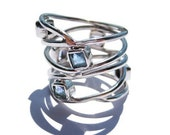 Valentines Day Gifts for Her Sterling Silver Rings for Women Sky Blue Topaz Jewelry
