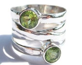 Gold Peridot Ring Sterling Natural Green Gemstone Womens Jewelry