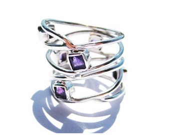 Amethyst Promise Ring Wide Sterling Silver Band