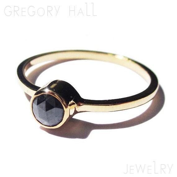 Uncut Black Diamond Ring Black Diamond Ring 14k Yellow
