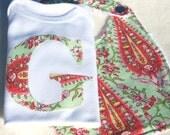 baby girl gift set bodysuit bib gift set paisley monogrammed letter bodysuit