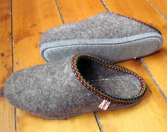 Traditional Hand Felted Woollen Slippers All Natural Thermal Warm and Cool