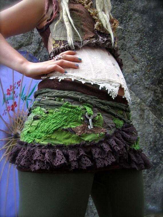 Woodland Tribal Tattered Ruffle Skirt free size