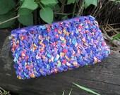 Purple teapots hand knitted fabric OOAK mini clutch or wallet
