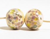 Ivory Pastel Lampwork Glass Beads (2) - DaviniaDesign
