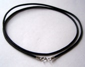 "16/18/20/22"" leather choker/necklace Natural black Leather with sterling silver ends and clasp hand made."