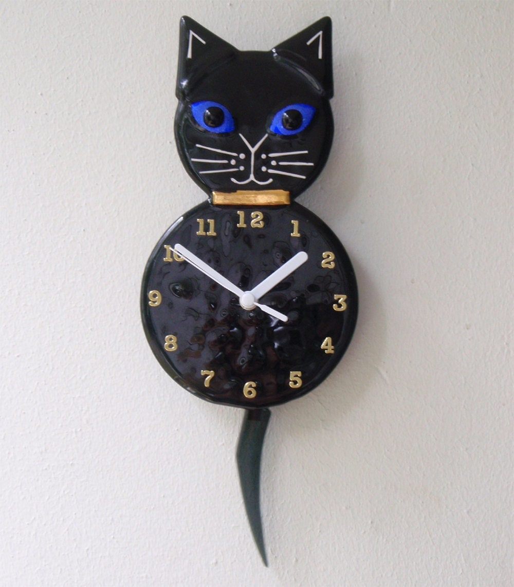 Black kitty cat clock with pendulum tail fused glass - Kitty cat clock ...