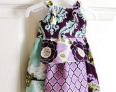 Flower Girls Apron Knot Dress Aviary Size 12m to 6 years - Amievoltaire