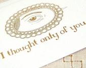 SALE Jane Austen card - Only of You - Pride and Prejudice, Regency, lovers eye