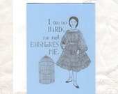 CLEARANCE Charlotte Bronte Card - Jane Eyre - Victorian - I am no bird