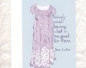 CLEARANCE Jane Austen card - Regency fashion illustration - Mansfield Park