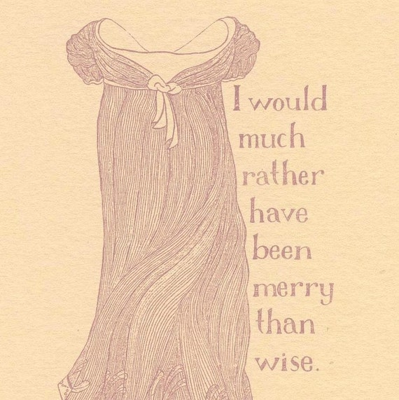 Jane Austen print - Merry - Emma, Regency fashion illustration, Gocco