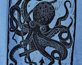 Octopus and Anchor- Ladies T-Shirt on Blue - Size Large