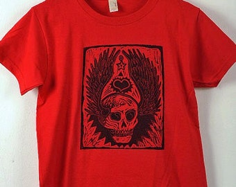 Winged Tattoo Skull - Women's T-Shirt on Red - Size Small