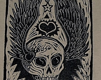 Winged Tattoo Skull - Men's T-Shirt in Olive Green - Size XL