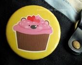 Strawberry Cupcake Bear 2.25 inch Pinback Button