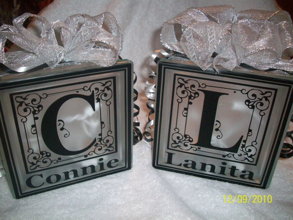 Personalized glass block light momogrammed initial name for Custom acrylic blocks