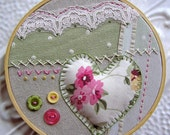 Embroidered Hoop Wall Art - Gwyneth Romantic Heart and Lace Embroidered Linen