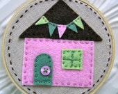Embroidered Wall Art - Little Felt House in Pink Green and Chocolate on Linen - No Place Like Home Series