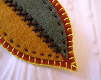 Embroidered Felt Leaf Brooch in Autumn Colors - LaVernia