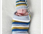 Boutique Baby Boy Summer Cocoon and Hat Set Newborn Photography Prop