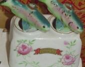 bobbing trout salt pepper shakers china porcelain