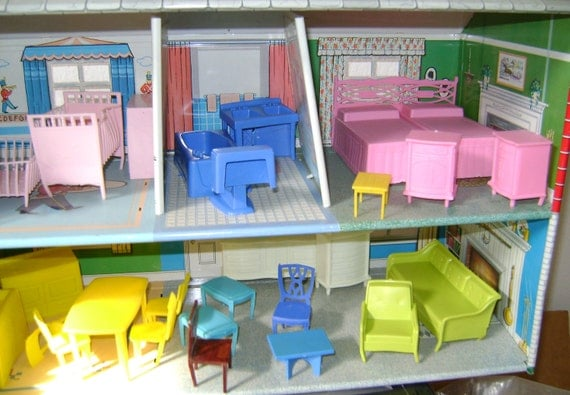 marx metal dollhouse filled