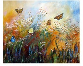 Chamomile Garden REDUCED and Butterflies Mural Size ORIGINAL Painting by Ginette Unstretched 64 x 77 Inches FREE Shipping
