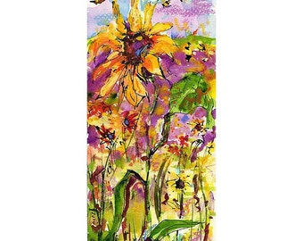 SALE Sunflower and Bees Provence Original Watercolor Ink and Pastel Painting by Ginette