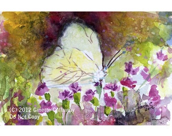 Impressionist Watercolor Southern White Butterfly Postcard Size Original Painting by Ginette