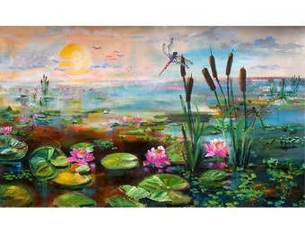 Dragonflies and Cattails Huge ORIGINAL Painting by Ginette