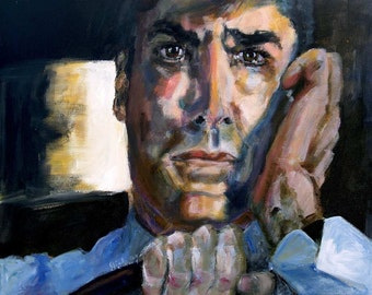Criminal Minds Aaron Hotchner in 100 Episode Original Portrait Painting 20 by 16 inch by Ginette