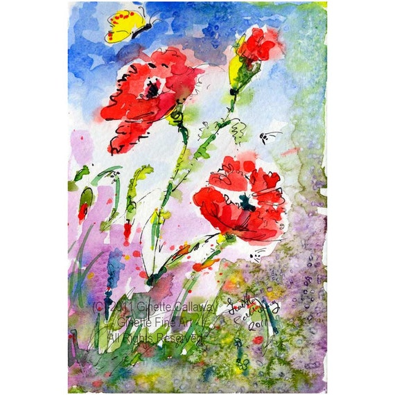 Flowers,Botanical,Red Poppies, Bees, Whimsical,Original Watercolors,Impressionist Watercolor,Ginette Original Painting,