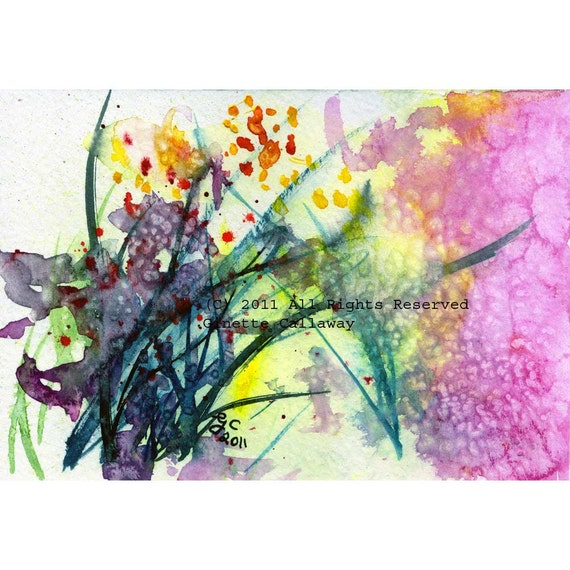 Abstract Original Watercolors Postcard Size Pink Floral Green Modern Art Ginette Original Painting,