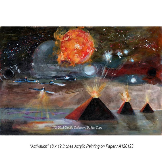 Pyramids Sun Flares Orion Visionary Planets and Stars  18 by 12 inches ORIGINAL Painting by Ginette