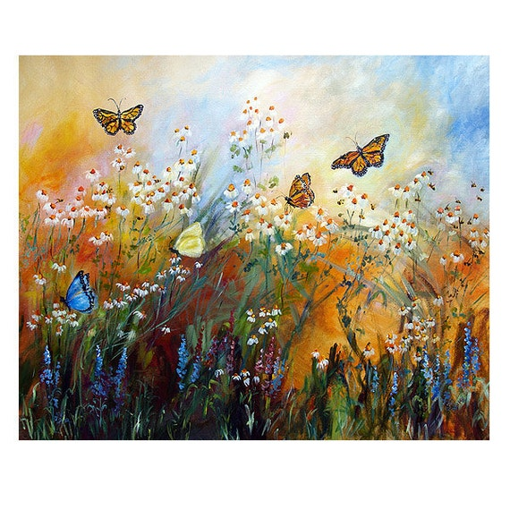 Chamomile garden reduced and butterflies mural by for Butterfly garden mural