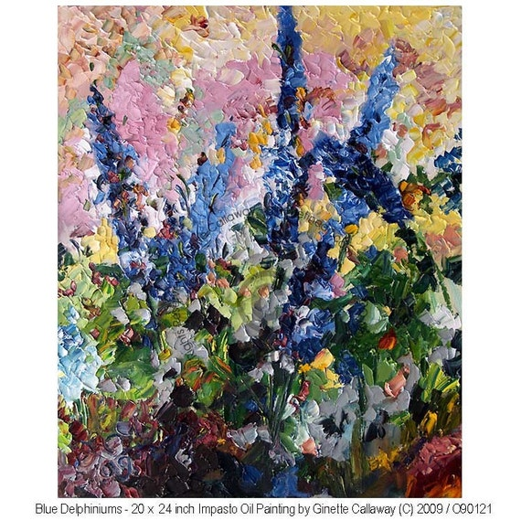 REDUCED - Blue Delphiniums Impressionist Garden OIL Painting by Ginette Callaway