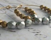 Gold Hoop Earrings, Silver Gold Earrings, Glass Bead Earrings, Faceted Glass Bead 14k Gold Filled Hoop Earrings