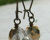 Gold Crystal Earrings, Gold Earrings, Gold Glass Earrings, Vitrail Half Coat Glass Bead and Antiqued Brass Kidney Wire Earrings