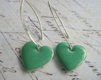 Seafoam Heart Earrings, Mint Green Dangle Heart Earrings, Enamel Heart Earrings, Sterling Silver Enamel Heart Earrings