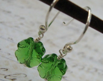 Irish Green Earrings, Clover Earrings, Shamrock Earrings, Swarovski Crystal Earrings, Sterling Silver Earrings