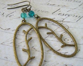 Branch Earrings, Fall Earrings, Turquoise Blue Glass Brass Branch Pendant Earrings