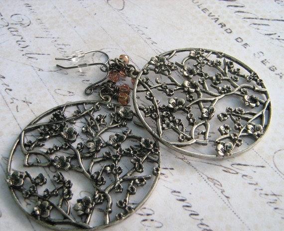 Cherry Blossom, Large Hoop Earrings, Pendant Earrings, Pink Glass Beads, Dangle Earrings, Gunmetal Pendant, Cherry Tree Branch, LePrintemps