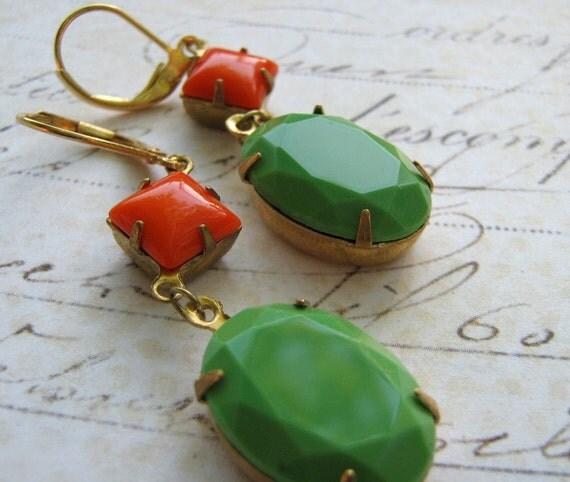 Estate Earrings, Retro Earrings, Vintage Jadite Green Earrings, Orange Glass Rhinestone Earrings, Brass Lever Back Earrings
