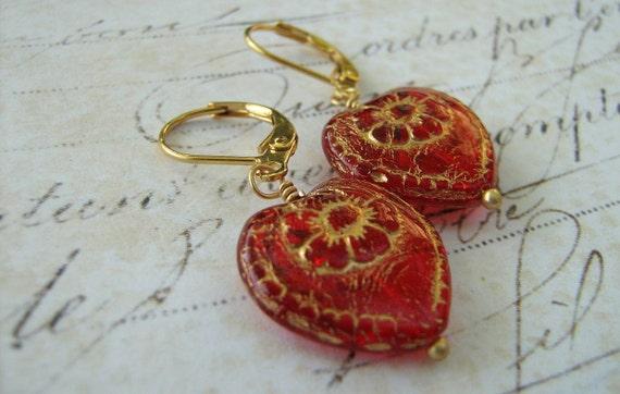 Heart Earrings, Red Gold Heart Earrings, Glass Heart Earrings, Flower Etched Brass Lever Back Earrings