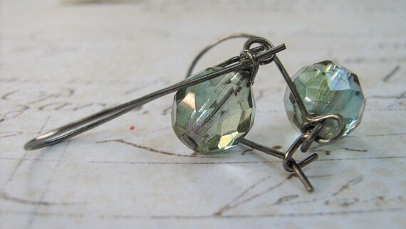 Green Glass Earrings, Green Blue Glass Bead Earrings, Gunmetal Wrapped Earrings  - Bridesmaid Earrings