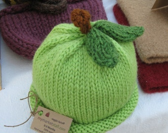 Granny Smith Apple Hat for Baby - Soft Wool - 6-18 Months - Made-to-Order - Cute Photo Prop or Everyday Use
