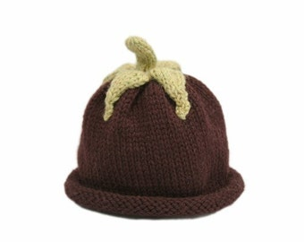 Aubergine Baby Hat - Fall - Harvest - Winter - 0-3 Months - In Stock - Ready to Ship